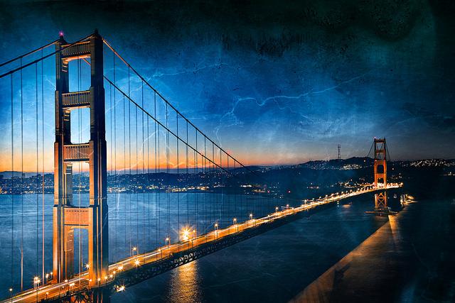 Golden Dawn Bridge - Gloomy Ghost Grunge